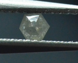 0.165ct 3.45mm Silver Grey Hexagon rose cut Diamond Code K