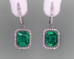 3.62tcw High End Emerald Earrings