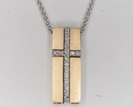 33.76ct Diamond and Gold Cross pendent and chain