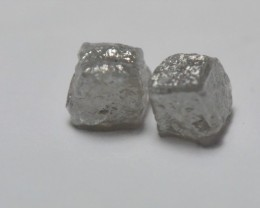 1.33ct pair 3.7mm silver grey cube diamonds  SPECIAL OFFER 1.33ct