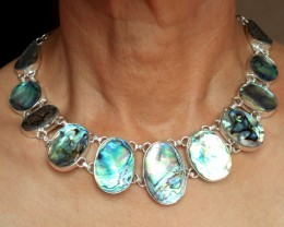 344.0 Tcw Sterling Silver Mother Of Pearl Necklace - Gorgeous