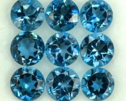 5.54 Cts Natural London Blue Topaz 5 mm Round 9 Pcs Brazil Gem