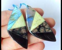 Natural Blue Labradorite,Serpentine,Snow Flake Jasper,Obsidian Intarsia Ear