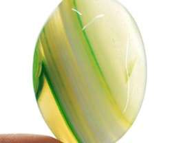 101.50 Cts Green Striped Onyx Oval Shape Cab