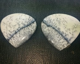 Dendritic Agate Pair 25mm Custom cut heart shape 32ct