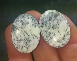 Dendritic Agate pair oval 26ct 24mm