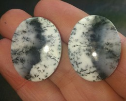 reserved 26mm DENDRITIC AGATE pair black white cabochon Custom Designer cut