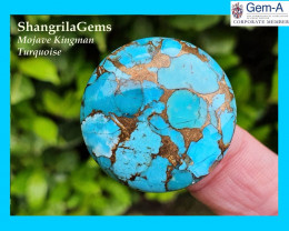25mm Mojave Turquoise cabochon round 25mm by 5mm deep 28ct THE BEST!