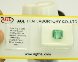 AGL Certified 7.74 ct Natural Untreated Bluish Flawless Tourmaline