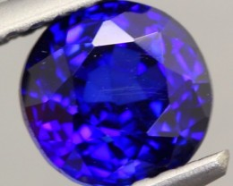 1.31ct Natural Africa Royal Blue Sapphire Round Diffusion HEATED
