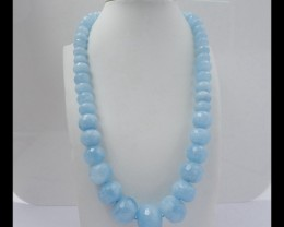 590ct  Precious Gift Natural Faceted Blue Aquamarin Necklace Beads