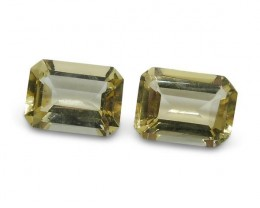 2 Stones - 1.7 ct Heliodor 7x5mm Octagon