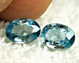 3.44 Tcw. Matched VVS/VS Blue Zircons - Lovely