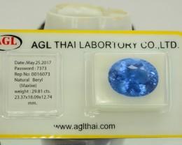 AGL Certified 29.81 ct Natural Beryl Aquamarine