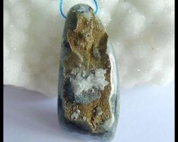 Natural Flourite With Rainbow Iron Pyrite Pendant,47x20x14mm,90ct(17050604)