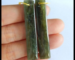 Natural Canada Jade Earrings,Mother'Day Gift,46x9x4mm,39.5ct(17050606)