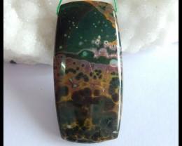 Natural Ocean Jasper Healing Stone Pendant Bead,49x25x7mm,78ct(17050608)