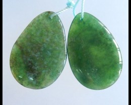 Natural Moss Agate Water Drop Earrings,31x21x5mm,46.5ct(17050610)
