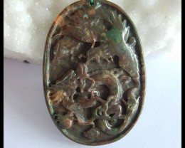 Natural Mushroom Jasper Handcarved Ancient Animal Pendant Bead,52x36x6mm,98