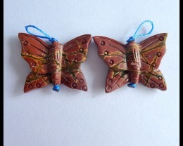 Natural Muti Color Picasso Jasper Handcarved Butterfly Earring Pairs,25x19x