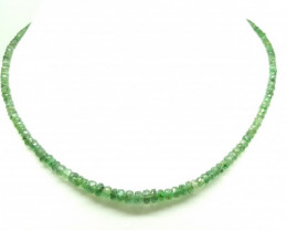 59.85 Crt Natural Emerald Faceted Round Beads Necklace 17 inch