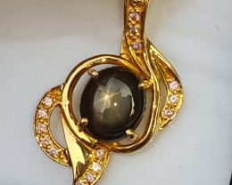 90% Pure Gold With Star Sapphire Pendant,  21.5k Gold,  Untreated Stone