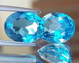 6.22cts, Electric Blue Topaz Pair, VVS1 Eye Clean, Calibrated