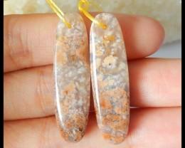 Natural Ocean Jasper Oval Earrings,35x10x5mm,29.5ct(17050703)