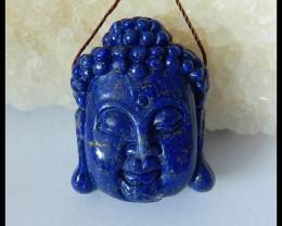 Natural High Quality Lapis Lazuli Carving Buddha Head Pendant,31x25x12mm,79