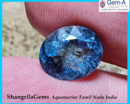 10.5mm 3.27ct Aquamarine oval faceted gem Rich Blue unheated from Tamil Nad