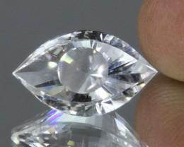 9.3ct Precision Cut Clear Quartz Fancy Eye Shape Cut Madagascar