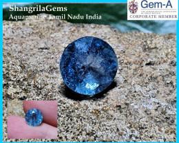 7.8mm 3.27ct Aquamarine round brilliant cut faceted gem Rich Blue unheated