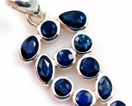 FACETED SAPPHIRES SET IN SILVER  PENDANT TOP [SJ4501]