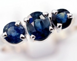 SIZE 9 FACETED BLUE SAPPHIRES SET IN SILVER RING [SJ4502]