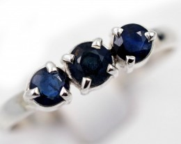 SIZE 9 FACETED BLUE SAPPHIRES SET IN SILVER RING [SJ4503]