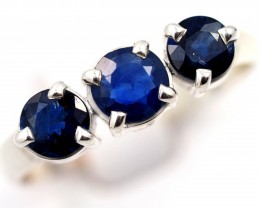 SIZE 9 FACETED BLUE SAPPHIRES SET IN SILVER RING [SJ4504]