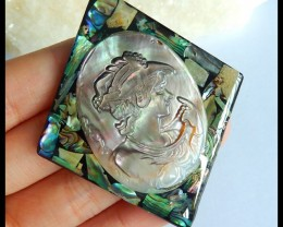 Natural Shell Carving Beauty Girl Pendant Bead,64x54x5mm,58ct(17050802)