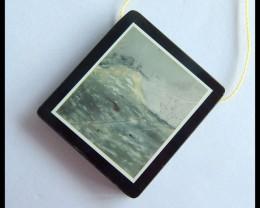 Natural Picasso Jasper,Obsidian Intarsia Pendant Bead,36x32x5mm,69ct(170508