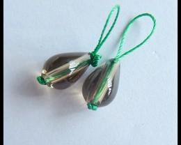 Natural Smoky Quartz Earrings,12x8mm,11.5ct(17050814)