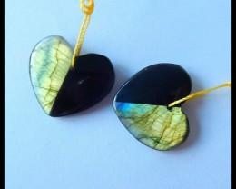 Natural Flashy Labradorite,Obsidian Intarsia Heart Earrings,22x20x4mm,26.5c