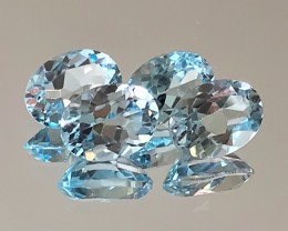 4 Jewellery grade Sky Blue Topaz Gems 8 x 6.0mm VVS