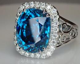 16.78ct  Blue Zircon Ring