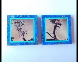 Sell 2pcs Natural Chohua Jasper,Lapis Lazuli,Obsidian Intarsia Cabochons,Pa