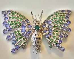 'Butterfly Bliss' Tanzanite Sapphire Tsavorite Garnet Brooch