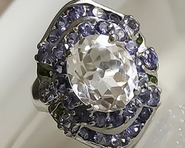 'Ice Queen' Tanzanite Quartz Chrome Diopside Ring 48.50cts Sterling