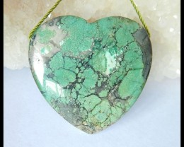 Natural Turquoise Heart Pendant Bead,32x34x8mm,64ct(17051403)
