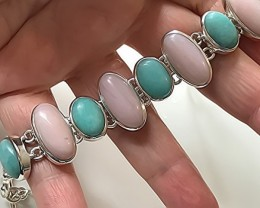 For Jen 182.00ct Handmade Pink Opal Amazonite Bracelet .925 Sterling Silver