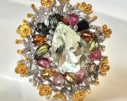 Superb - 'The Garden' Tourmaline Amethyst ring size 8