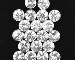 14.92 Cts Natural White Zircon 5 mm Diamond Cut 20 Pcs Parcel