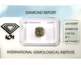 2.03 ct. Natural Fancy brownish greenish yellow Cushion cut Diamond, IGI